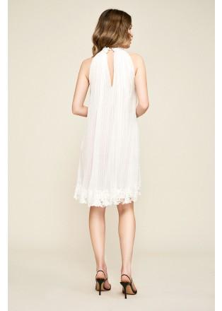 压褶雪纺削肩连衣裙