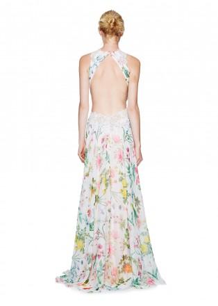 花朵印花蕾丝装饰长裙