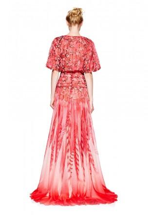 红色印花雪纺复古长裙
