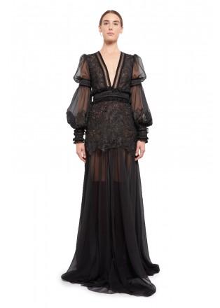 绣花蕾丝V领复古长裙