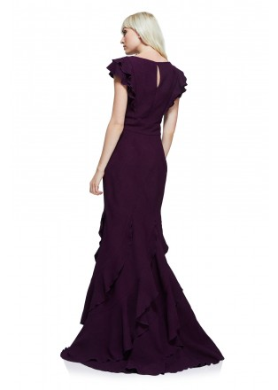 肌理绉纱层叠修身长裙