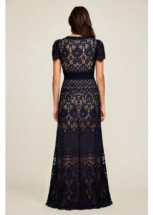 蕾丝V领直身长裙