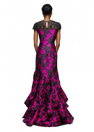 花朵提花层叠长裙