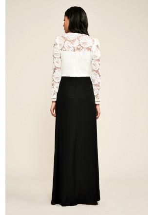 黑白撞色修身长裙