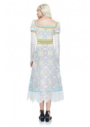 彩色绣花复古长袖连衣裙