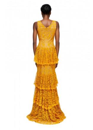绣花蕾丝V领层叠长裙