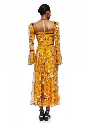 花朵印花镶条长袖连衣裙