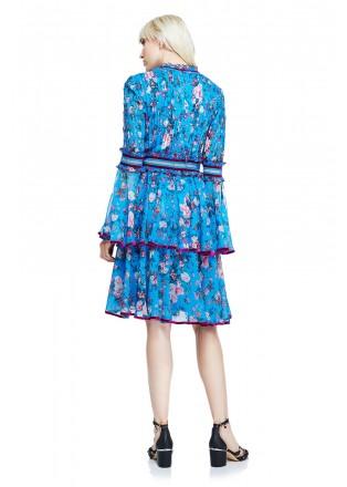 花朵印花V领层叠连衣裙