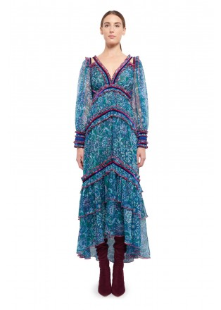 印花雪纺V领镶条长袖连衣裙
