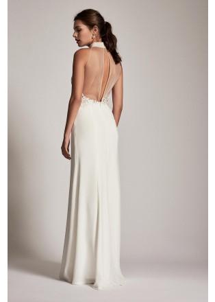 削肩蕾丝拼接长裙