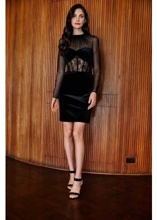 分割设计丝绒蕾丝拼接连衣裙