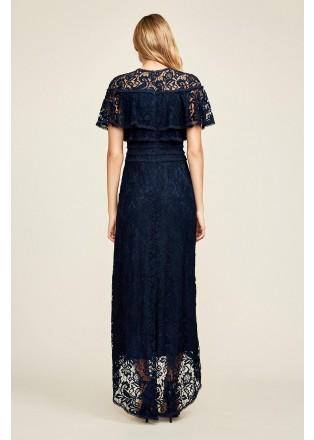 绣花蕾丝束腰直身长裙