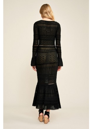 黑色针织V领修身长裙