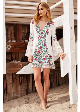 花朵刺绣拼接A型连衣裙