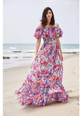 花朵印花露肩雪纺长裙