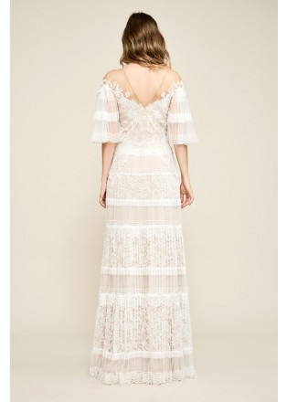 绣花蕾丝压褶V领长裙