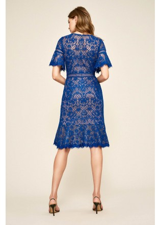 绣花蕾丝荷叶边短袖连衣裙