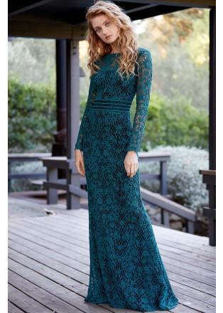 绣花蕾丝长袖收腰修身长裙