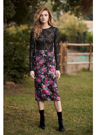 花朵印花铅笔裙