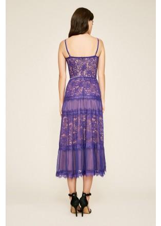绣花蕾丝几何镶条吊带连衣裙