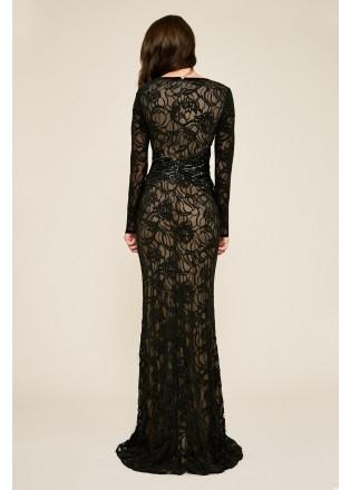 绣花蕾丝珠片腰部装饰长裙