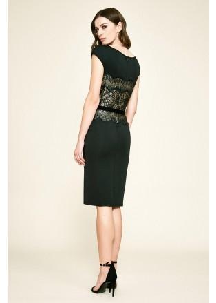 珠片蕾丝弹力布腰带装饰连衣裙