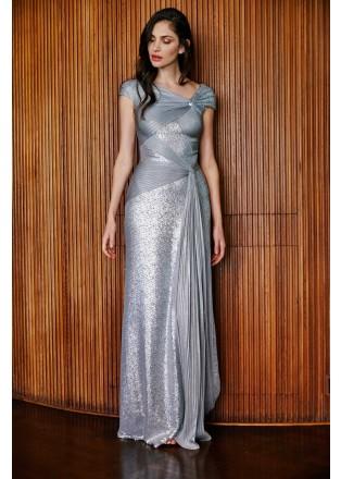 珠片蕾丝压褶弹力拼接修身长裙