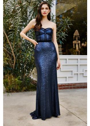 珠片蕾丝几何线条设计抹胸长裙