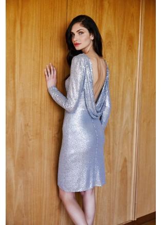 珠片蕾丝长袖露背连衣裙
