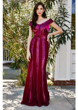 珠片条纹拼接V领修身长裙
