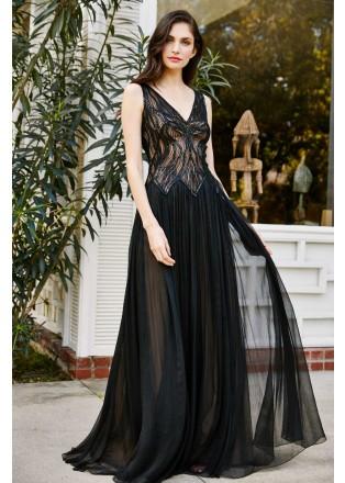 金属绣花蕾丝V领网纱长裙