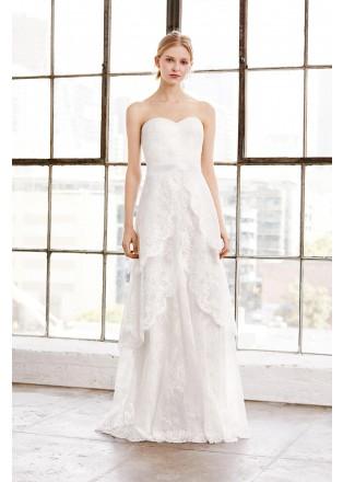 层叠设计蕾丝抹胸长裙