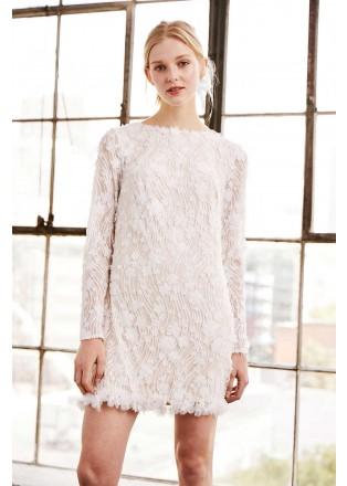 花朵蕾丝长袖连衣裙