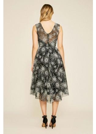 星光刺绣蕾丝摆浪连衣裙