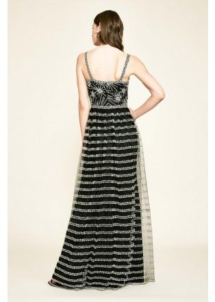 星光刺绣V领吊带长裙