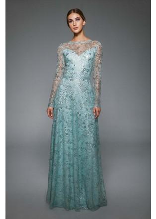 珠片蕾丝长袖修身连衣裙