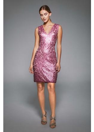 珠片蕾丝V领直身连衣裙