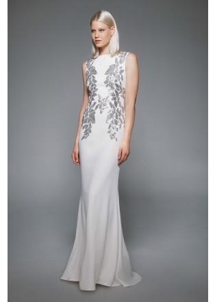 珠片蕾丝拼接修身长裙