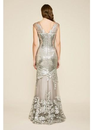 珠片绣花蕾丝网纱V领长裙