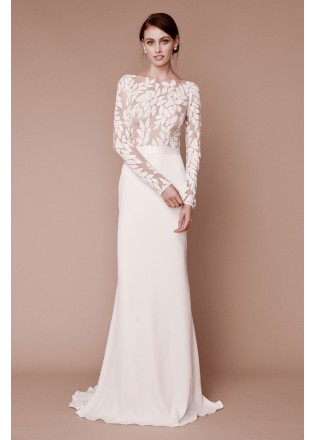 珠片刺绣蕾丝拼接修身长裙