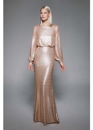 珠片蕾丝收腰长袖露背长裙