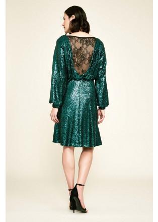 珠片蕾丝收腰长袖露背连衣裙