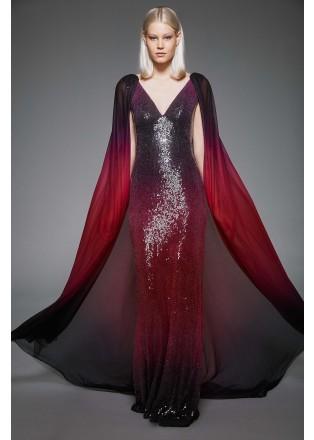 珠片渐变蕾丝V领斗篷长裙