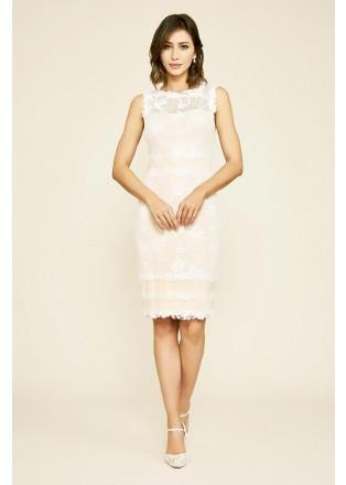 绣花蕾丝直身连衣裙