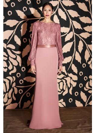 绣花蕾丝带腰带长袖长裙
