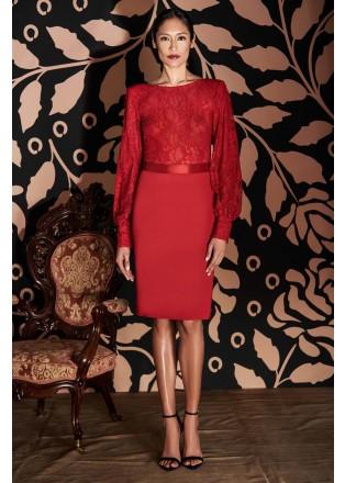 绣花蕾丝带腰带长袖连衣裙