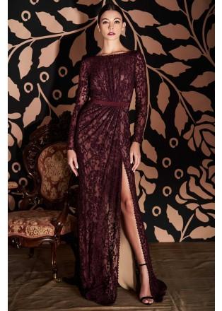 绣花蕾丝开叉长袖长裙