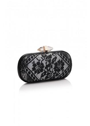 黑白撞色蕾丝手包