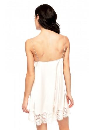 吊带蕾丝拼接丝绸睡裙