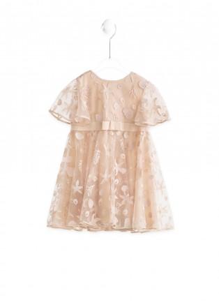 粉色莲花连衣裙